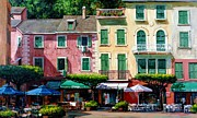 Portofino Cafe Painting Prints - Portofino Print by Michael Swanson