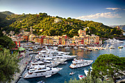 Boats In Harbor Prints - Portofino Summer Afternoon Print by George Oze