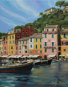 Portofino Cafe Painting Prints - Portofino Summer Print by Emily Olson