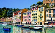 Portofino Cafe Painting Prints - Portofino Sunshine Print by Michael Swanson