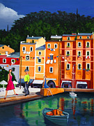 Portofino Village Art Framed Prints - Portofino Framed Print by William Cain