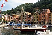 Portofino Italy Town Art Prints - Portofinos Colorful Harbor Print by Carla Parris