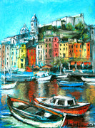 Mona Edulescu Framed Prints - Portovenere Framed Print by EMONA Art