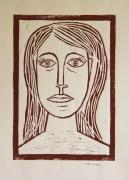 Lino Mixed Media Framed Prints - Portrait a La Picasso - Block Print Framed Print by Christiane Schulze
