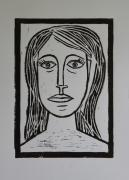 Lino Cut Print Framed Prints - Portrait A La Picasso Framed Print by Christiane Schulze