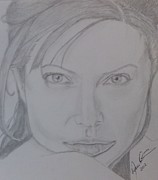 Celebrity Portraits Drawings Posters - Portrait Angelina Jolie  Poster by Melissa Nankervis