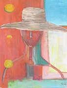 Of Color Pastels Prints - Portrait Avec Le Chapeau Print by Chaline Ouellet