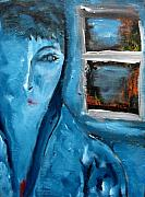 Portrait Bleu Avec Le Fenetre Print by Chaline Ouellet