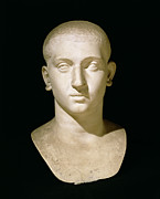 Sculptures Sculptures Sculpture Prints - Portrait bust of Emperor Severus Alexander Print by Anonymous