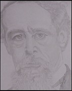 Original Print Drawings Framed Prints - Portrait Charles Dickens Framed Print by Melissa Nankervis