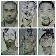 Kanye West Drawings Originals - Portrait Collage by Monty Virge