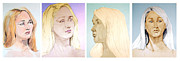 Featured Drawings Metal Prints - Portrait composition of a blonde young woman Metal Print by Greta Corens