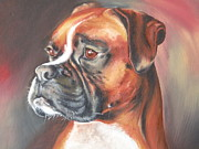 Boxer Dog Art Print Framed Prints - Portrait Framed Print by Cute Pet Canvas