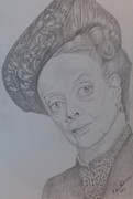 Pencil On Canvas Drawings Posters - Portrait Dame Maggie Smith Poster by Melissa Nankervis