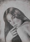 Monica Drawings Framed Prints - Portrait Drawing Monica Bellucci Artwork  Framed Print by Luigi Carlo