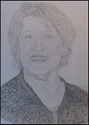 Pencil On Canvas Metal Prints - Portrait Germaine Greer  Metal Print by Melissa Nankervis