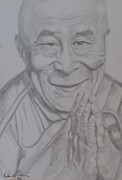 Portraits Drawings Metal Prints - Portrait H.H Dalai Lama  Metal Print by Melissa Nankervis
