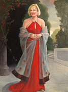 Shawl Paintings - Portrait in Red Dress by Kathryn Donatelli