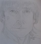 Graphite Drawings Drawings Posters - Portrait John Lennon Poster by Melissa Nankervis