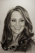 Kate Middleton Painting Framed Prints - Portrait Kate Middleton Framed Print by Natalya Aliyeva