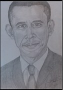 Pencil On Canvas Metal Prints - Portrait Mr Barack OBama  Metal Print by Melissa Nankervis