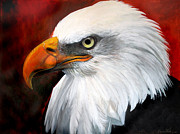 American Eagle Painting Metal Prints - Portrait of a bald eagle Metal Print by Harm  Plat