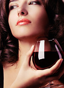 Degustation Posters - Portrait of a beautiful woman with glass of wine Poster by Oleksiy Maksymenko