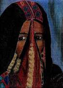 Veil Pastels Framed Prints - Portrait of a Berber Woman Framed Print by Serran Dalmak