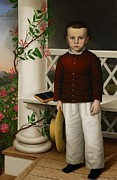 Symbolic Painting Framed Prints - Portrait of a Boy Framed Print by James B Read