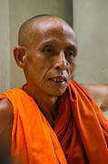 Buddhist Monk Photos - Portrait Of A Buddhist Monk Yangon Myanmar by ArtPhoto-Ralph A  Ledergerber-Photography