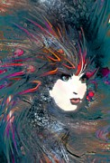 Portrait Of A Flamboyant Woman Print by Doris Wood