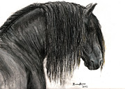 Horse Head Pastels Framed Prints - Portrait of a Friesian Framed Print by Burcu Alisan