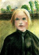 Fineart Pastels Posters - Portrait of a girl Poster by Paul Gosselin