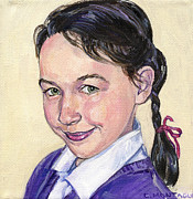 Portraits Paintings - Portrait of a Girl with Braid by Christine Montague