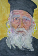 Orthodox Drawings Framed Prints - Portrait of a Greek priest  Framed Print by Alix Mordant