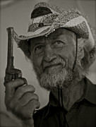 Old Man Digital Art Originals - Portrait of a joyful gunslinger by Andrzej Goszcz