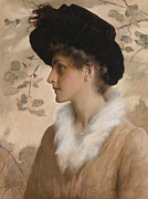 Fur Hat Posters - Portrait of a Lady 1888 Poster by George Henry Boughton
