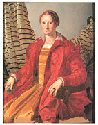 Lady In Red Painting Framed Prints - Portrait of a Lady Framed Print by Agnolo Bronzino