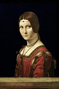 Hairstyle Paintings - Portrait of a Lady from the Court of Milan by Leonardo Da Vinci