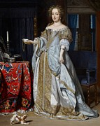 King Charles Spaniel Prints - Portrait of a Lady Print by Gabriel Metsu