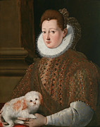 Famous Artists - Portrait of a Lady with a Lap Dog by Girolamo Macchietti