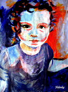 Purple Artwork Posters - Portrait of a little girl Poster by Helena Wierzbicki