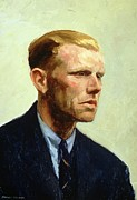 Shirt Paintings - Portrait of a Man by Edward Hopper