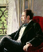Lace Curtains Posters - Portrait of a Man Poster by Gustave Caillebotte