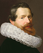 Mustache Painting Prints - Portrait of a Man Wearing a Ruff Print by Dutch School