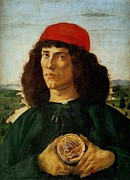 Medal Paintings - Portrait of a Man with a Medal of Cosimo the Elder by Sandro Botticelli