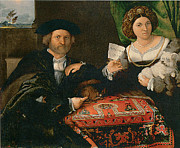 Man And Woman Paintings - Portrait of a Married Couple by Lorenzo Lotto
