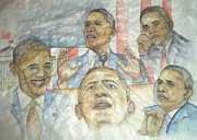 Obama Paintings - portrait of a President  by Debbi Chan