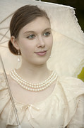 Jewellery Framed Prints - Portrait Of A Pretty Victorian Woman Framed Print by Lee Avison