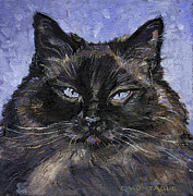 Portraits Paintings - Portrait of a Ragdoll Cat by Christine Montague